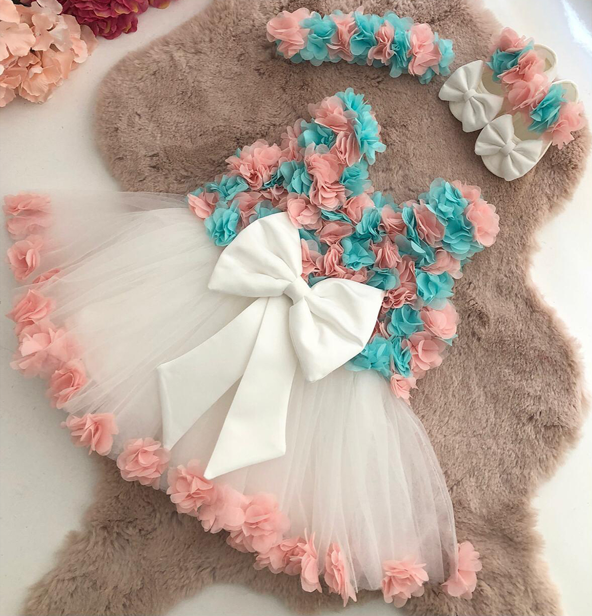 kavunici-turkuaz-kiz-bebek-elbise